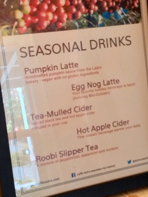 Seasonal drink offerings at Cafe Ladro